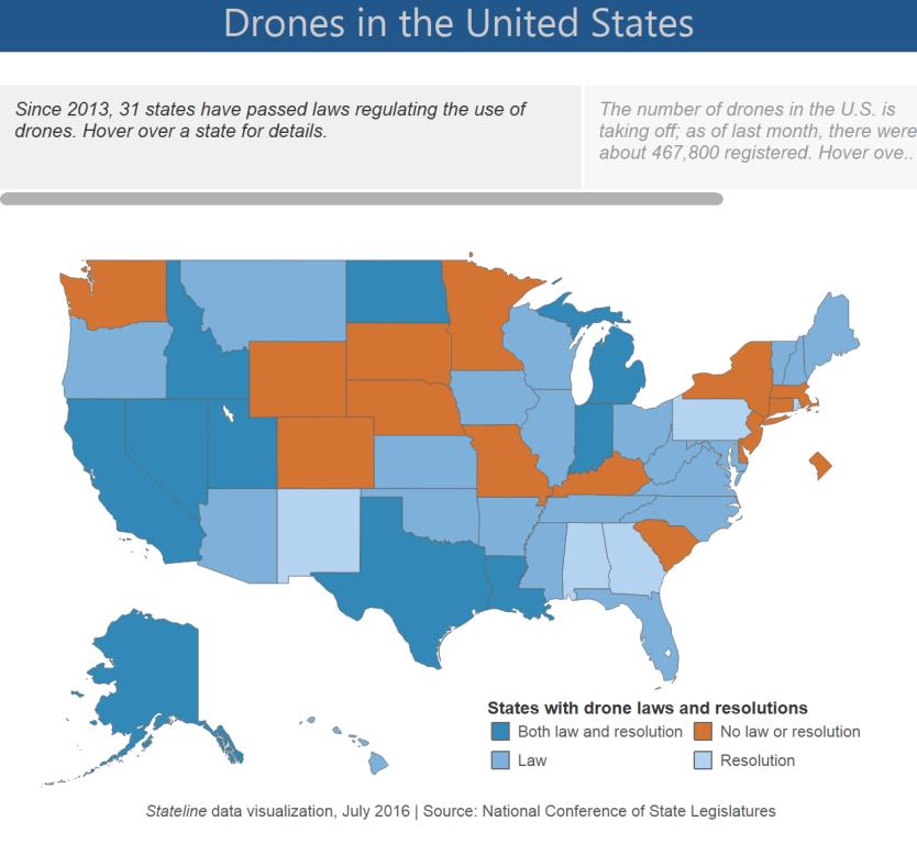 Estados USA con regulación sobre drones