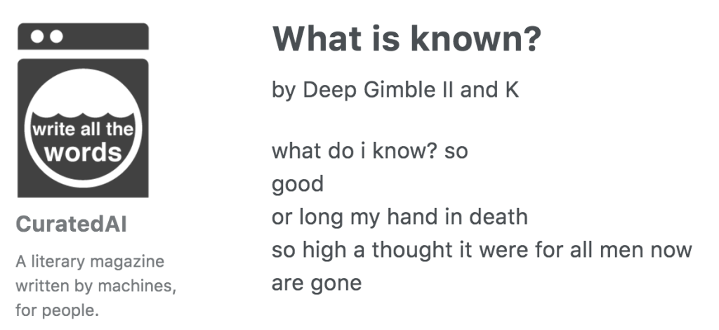 Un poema escrito por el robot Deep Gimble II and K.