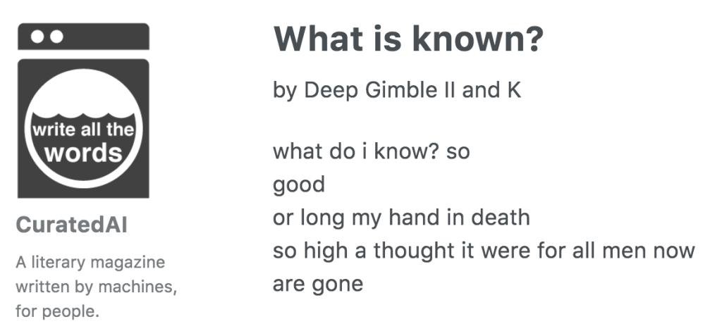 Un poema escrito por el robot Deep Gimble II and K.