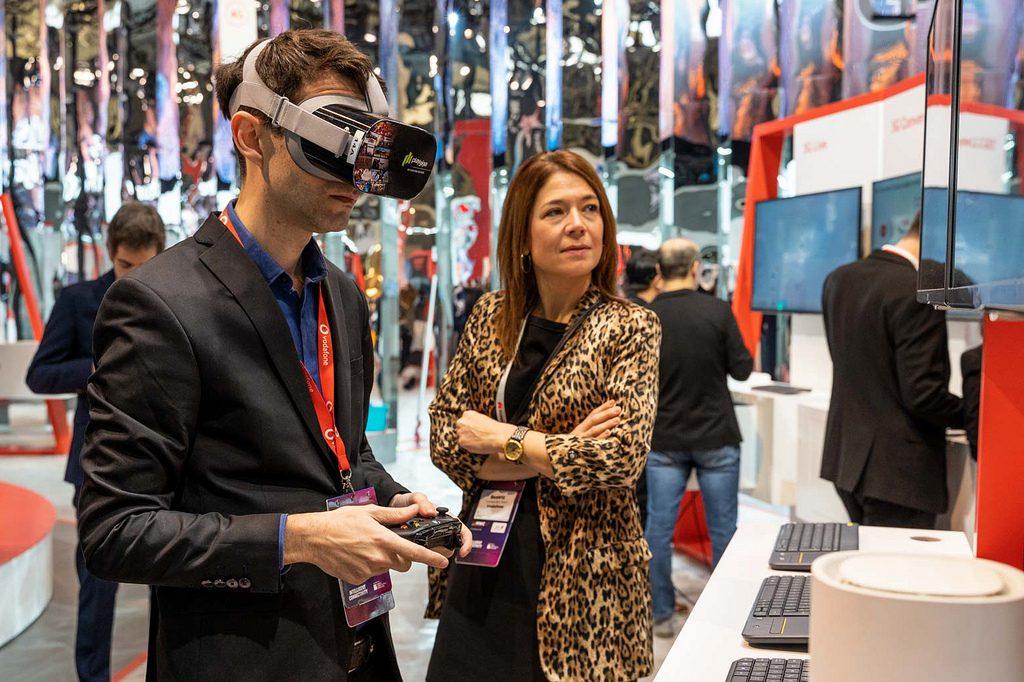 Demostración de VR Gaming con gafas Oculus Pro y 5G de Vodafone en el MWC 19