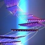Ilustración conceptual de un objeto nano-modelado que se reorienta para permanecer en un rayo de luz. Crédito: Cortesía del laboratorio de Atwater.