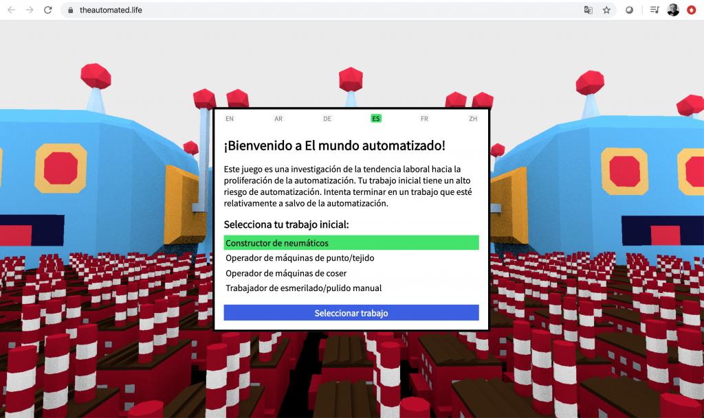 Pantalla inicial del juego en línea The Automated Life
