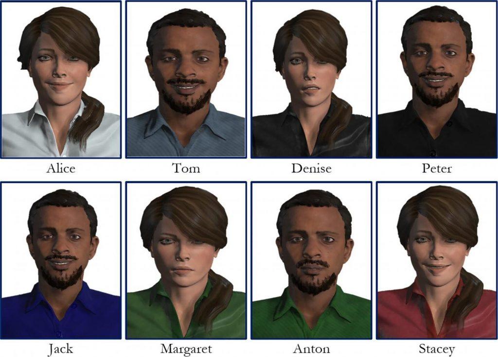 Los seres humanos virtuales (VH) se desarrollaron con Adobe Fuse CC. Crédito: Gonzalo Suárez, Sungchul Jung, Robert W. Lindeman