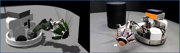 El Whiskeye-Robot (derecha) y su contraparte virtual en la plataforma EBRAINS Neurorobotics