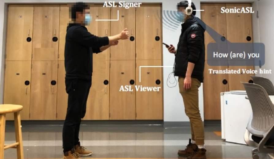 Sistema de auriculares y smartphone para oir la lengua de signos